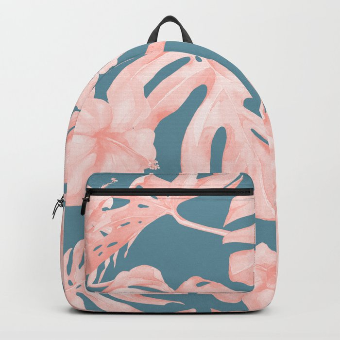 Tropical Palm Leaves and Hibiscus Pink Teal Blue Backpack