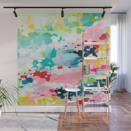 Colorful Fantasy Neon Rainbow Abstract Art Acrylic Painting Fluffy Pastel Clouds by Ejaaz Haniff Wall Mural