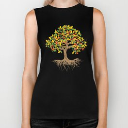 Colorful Tree, Life is Really good to Plant Trees, Plant Based Feels Good, The Dream Of Good Art Biker Tank