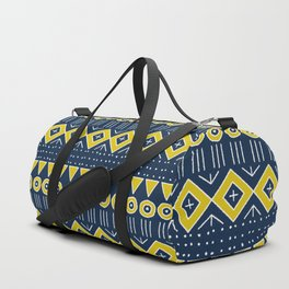Mudcloth Style 2 in Navy Blue and Yellow Duffle Bag