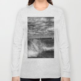 Presque Isle Waves and Lighthouse (Black and White) Long Sleeve T-shirt