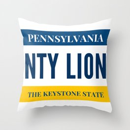 Nittany Lion License Plate Throw Pillow