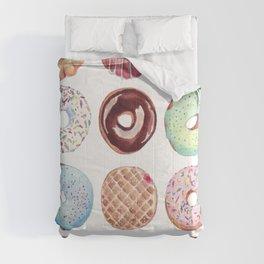 Dozen Donuts Watercolor Comforters