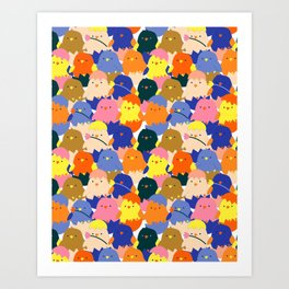 Colored Baby Chickens pattern Art Print