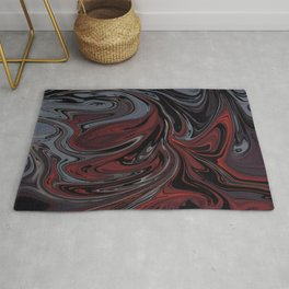 Grey & Red Abstract Painting Rug
