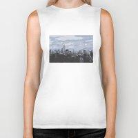 new york skyline Biker Tanks featuring New York Skyline by Thee Xelerator