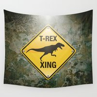 t rex Wall Tapestries featuring T-Rex Crossing by Peter Gross