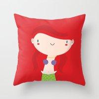ariel Throw Pillows featuring Ariel by Maria Jose Da Luz