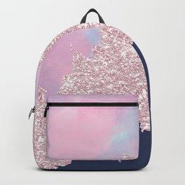 Pink navy blue watercolor brushstrokes glitter Backpack