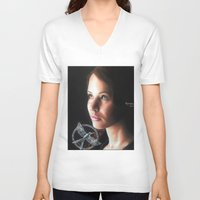 katniss V-neck T-shirts featuring Katniss Everdeen  by drawingsbyignacio