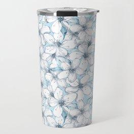 Cherry blossom. Blue Travel Mug