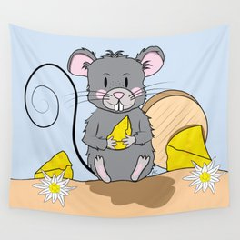 Cartoon Mouse with Cheese Wall Tapestry