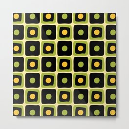 Mid Century Square Dot Pattern 2 Metal Print