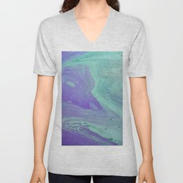 Blue Purple Flow - Fluid Acrylic Abstract Painting Unisex V-Neck
