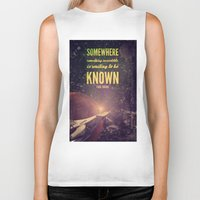 sagan Biker Tanks featuring Space Exploration (Carl Sagan Quote) by taudalpoiart