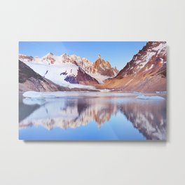 Cerro Torre, Patagonia, Argentina reflected in lake below, at sunrise Metal Print