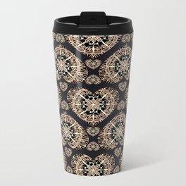 Black and Rose-Gold Valentine Mandala Heart Textile Metal Travel Mug
