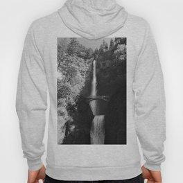 Multnomah Falls Oregon Waterfall Black and White Hoody