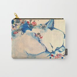 Cat sleeping with flowers Carry-All Pouch