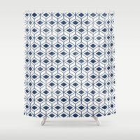indigo Shower Curtains featuring INDIGO by KIND OF STYLE