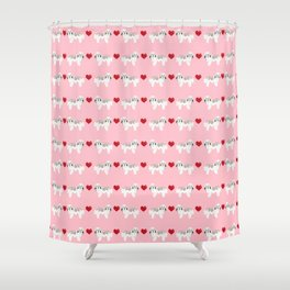 Havanese love hearts dog breed gifts for dog lover pure breed must haves Shower Curtain