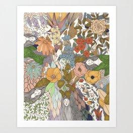 Falling Asleep in the Flowers Fine Art Print Art Print