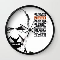 bukowski Wall Clocks featuring beer&bukowski by radiozimbra
