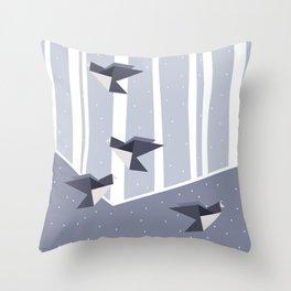 Elegant Origami Birds Abstract Winter Design Throw Pillow