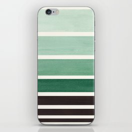 Deep Green Minimalist Watercolor Mid Century Staggered Stripes Rothko Color Block Geometric Art iPhone Skin