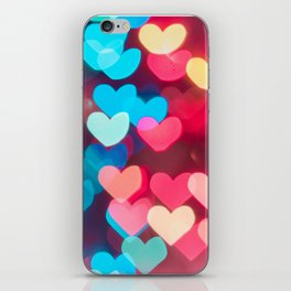 love background with neon hearts on Valentine's day iPhone Skin