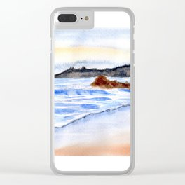 waves and wet sand Clear iPhone Case