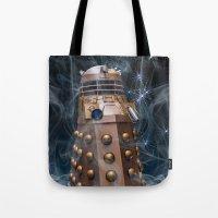dalek Tote Bags featuring Dalek by Steve Purnell