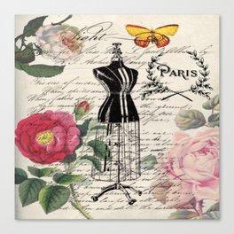 french country rose floral modern vintage dress mannequin paris fashion Canvas Print