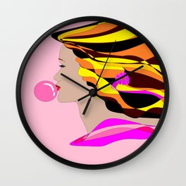 A Girl and Bubble Gum Wall Clock