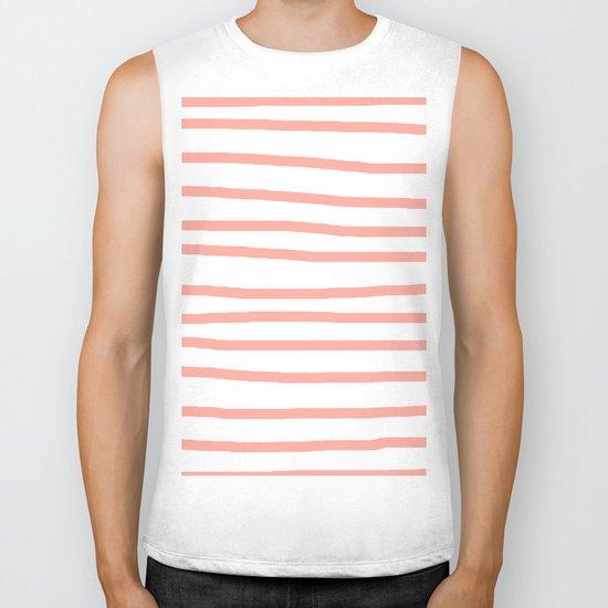 Simply Drawn Stripes Salmon Pink on White Biker Tank