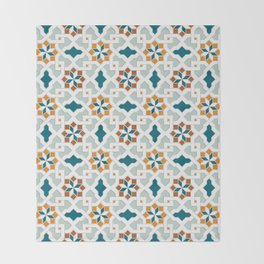 Geometric Pattern, oriental style (nature color set)  traditional morocco tile pattern Throw Blanket
