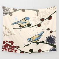tits Wall Tapestries featuring Blue Tits and Berries by Michelle Grace