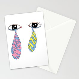 crying over lost carbs/good luck on your diet Stationery Cards