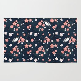 Navy blue cherry blossom finch Rug