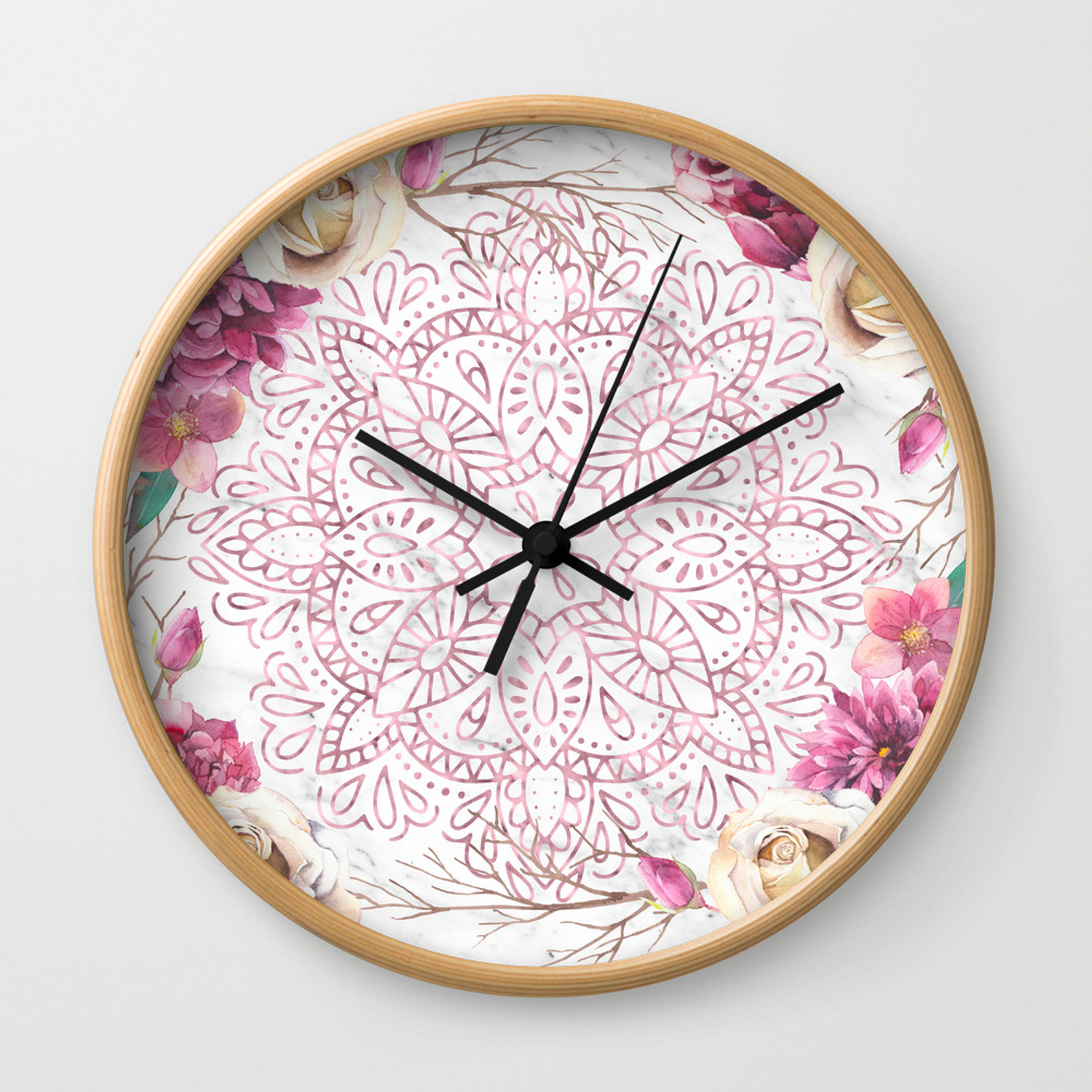 Rose Gold Mandala Garden On Marble Wall Clock By Naturemagick