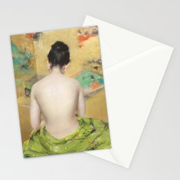 William Merritt Chase - Naked Japanese woman posing sensually with a kimono Stationery Cards