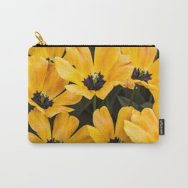 Field of Wide Open Yellow Tulips with Black Centers in Amsterdam, Netherlands Carry-All Pouch