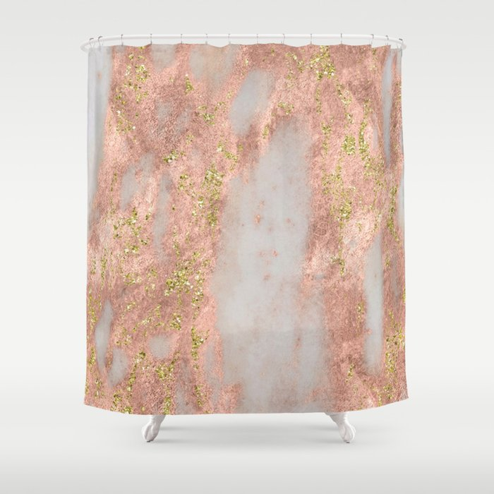 Rose Gold Marble With Yellow Glitter Shower Curtain