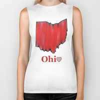 ohio state Biker Tanks featuring Ohio State Love by Fischer Fine Arts