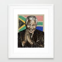 mandela Framed Art Prints featuring MANDELA by Stan Kwong