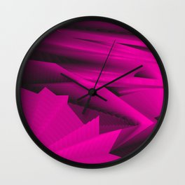 Psychedelic foil pink landscap with stylised mountains, sea and Sun. Wall Clock