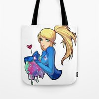 metroid Tote Bags featuring Samus + Metroid by Helixel