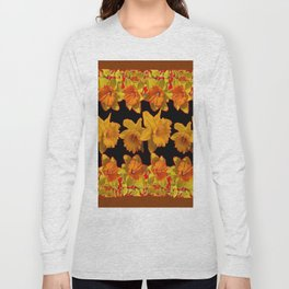 GOLDEN DAFFODILS GARDEN  COFFEE BROWN-BLACK ART Long Sleeve T-shirt