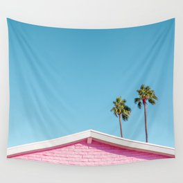Pink House Roofline with Palm Trees (Palm Springs) Wall Tapestry