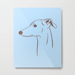 Italian Greyhound (Blue and Taupe) Metal Print
